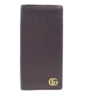 Gg Gold Leather Bifold Checkbook Bill Case Wallet